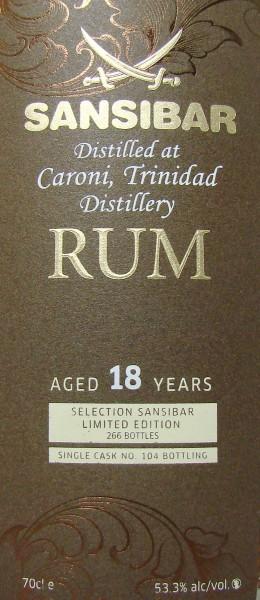 Caroni 18y (Cask 104) - Sansibar Classic Label
